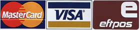 We Accept Visa, MasterCard & EFTPOS